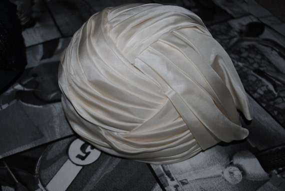 100% silk cream/white pleated turban Philip Somerville - hat designer to The Queen