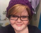 Crochet Slouchy Hat in Heather-Purple