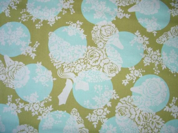 Moda Tula Pink Hushabye Ducky Dot Aqua/Green/Roses Fat Quarter Cotton Fabric FQ