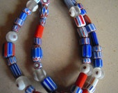 red & blue bracelet in variety of assorted glass beads
