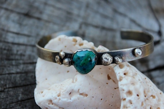 Dreams in Blue and Green - Chrysocolla and Sterling - Cuff
