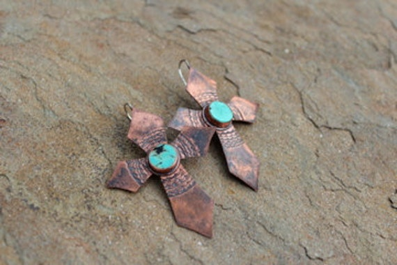 Spanish Lace Earrings in Copper and Turquoise