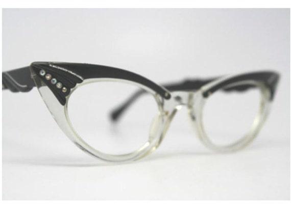 Vintage NOS Black Rhinestone Cat Eye Glasses