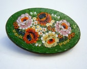 Italian Handcrafted Micromosaic Millefiori Oval Brooch Green Floral 2 Inches Wide