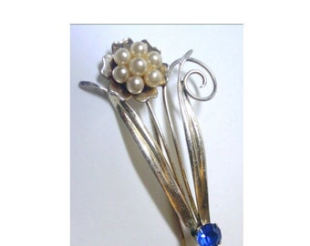 Vintage Sterling Pin/Brooch - Faux Pearl Flower with Blue Glass Stone