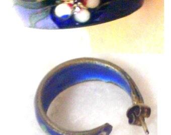 Vintage Cloisonne Hoop Earrings - Deep Blue with White Flower