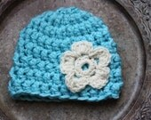 Chunky Sky Blue Beanie with Cream Flower  3-6 Months (READY TO SHIP)