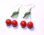 Cherry earrings polymer clay miniature food