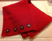 Burgundy Scarf with Old Buttons