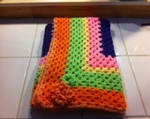 Bright Crocheted Baby Blanket with flower accents