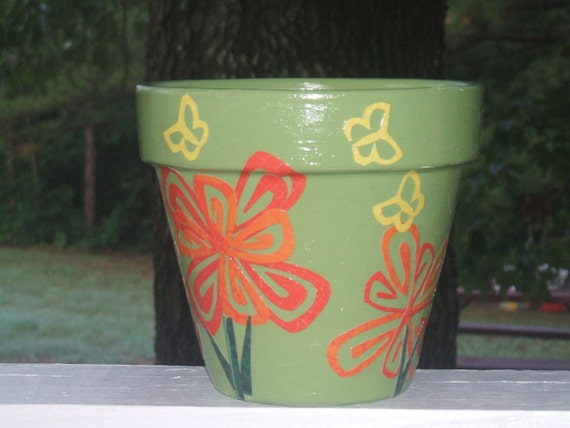 6 inch Green Painted Flower Pot with Decoupage Orange Flowers and Yellow Butterflies