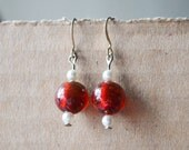 Glass Earrings Cherry Red  White Pearl