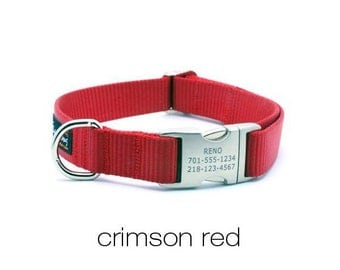 Laser Engraved Personalized Buckle Webbing Dog Collar - Crimson Red