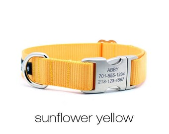 Laser Engraved Personalized Buckle Webbing Dog Collar - Sunflower Yellow