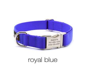 Laser Engraved Personalized Buckle Webbing Dog Collar - Royal Blue