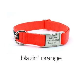 Laser Engraved Personalized Buckle Webbing Dog Collar - Blaze Orange