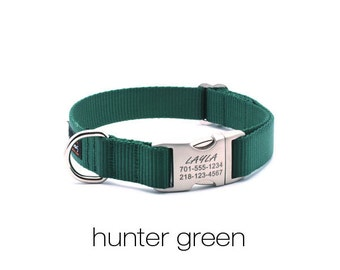 Laser Engraved Personalized Buckle Webbing Dog Collar-Hunter Green