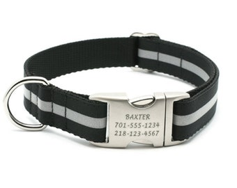 Reflective Dog Collar with Laser Engraved Personalized Buckle - Black