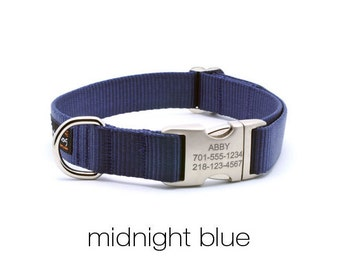 Laser Engraved Personalized Buckle Webbing Dog Collar - Midnight Blue