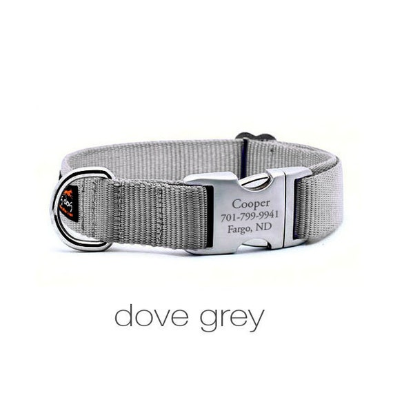 Laser Engraved Personalized Buckle Webbing Dog Collar - SILVER
