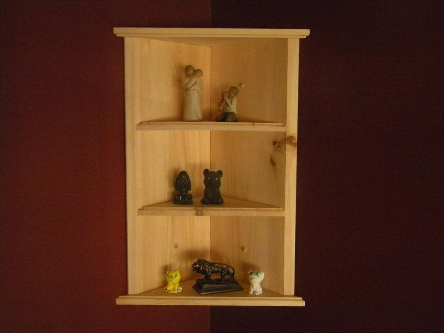 Wall hanging corner shelf by CustomWoodConcepts on Etsy