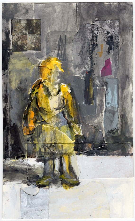 Unknown Girl in the City (Original Collage/Painting) by Peter Mack