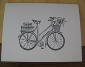 Stamped bicycle with basket greeting card - stationary