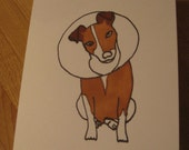 "Dog cone ""Feel like a martini"" card - hand drawn and colored"