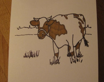 How now brown cow thinking of you card - hand drawn and colored