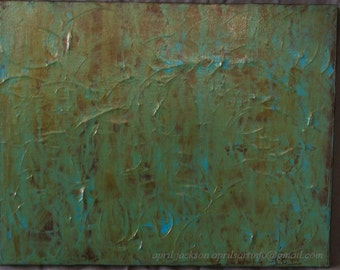 Trace Elements Turquoise Brown Abstract Acrylic Painting 11x14
