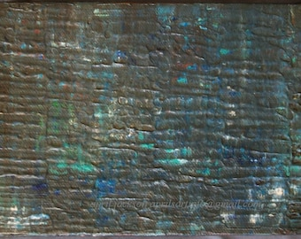 Water's Edge 5x7 Acrylic Abstract Painting Blue Brown Earthtone