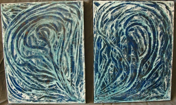 Frosted Bronze Diptych Pair 2 11x14 Abstract Acrylic Painting Blue White
