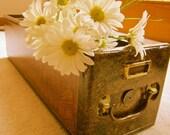 Vintage storage /file box handpainted with vinegar painting