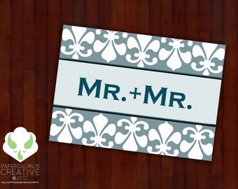 Greeting card: Mr. and Mr., that has a nice ring to it — gay marriage, LGBT wedding