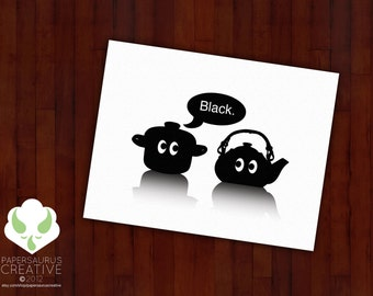 Greeting card: The pot calling the kettle black — blank, idiom, humor