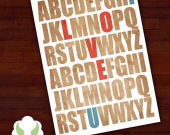 Greeting card: Typographic love — alphabet, typography