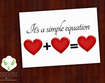 Greeting card: Love is a simple equation — love, marriage, LGBT, blank