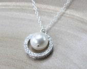 Swarovski pave circle necklace