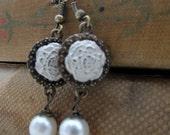 Ivory Enameled Rose Dangle Earrings