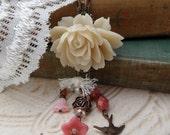 Shabby Chic Rose Necklace Set