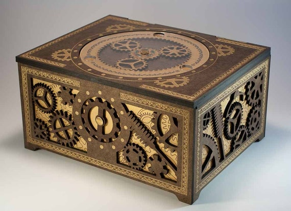 Steampunk Storage Box - Features Working Planetary Gears, and Gear-Driven Latch