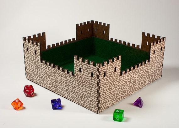 Castle Dice Tray - felt lined