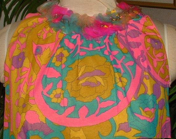 MOD MAXI DRESS 1960s Don Sophisticates Groovy Colorful Print Vintage