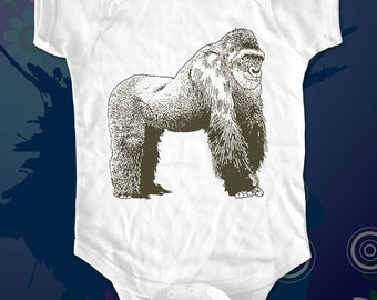 gorilla 1 - animal graphic printed on Infant Baby One-piece, Infant Tee, Toddler T-Shirts - Many sizes