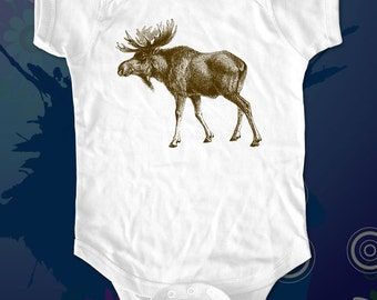 Moose Tee Shirt - graphic printed on Infant Baby One-piece, Infant Tee, Toddler T-Shirts - Many sizes