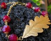 Oak leaf and Shadow rubies....A bracelet.