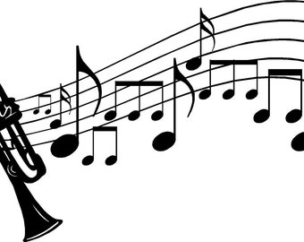 Vinyl Decorative Wall Art Music Notes with Trumpet 12x36