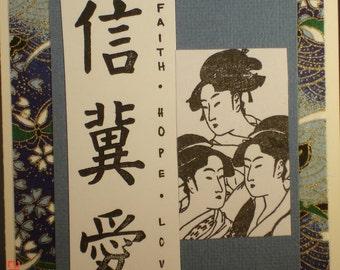 3 Geishas with symbols of Faith, hope & Love