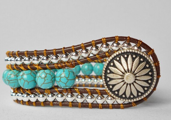Sundance: Beaded Leather Wrap Bracelet - Turquoise - Sterling Silver - Southwest button