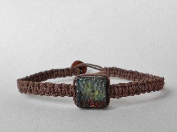CUSTOM ORDER for Kristoof Copper Raku beaded hemp bracelet (MB132)